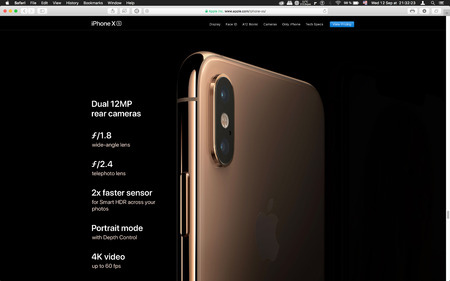 London, United Kingdom - September 12, 2018: Camera features Latest golden Apple iPhone XS iPhone XS Max iPhone X R smartphone computer, seen on computer MacBook display after Cupertino keynote product launch