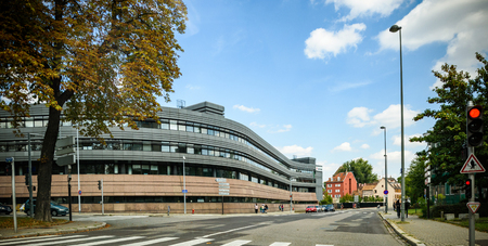 STRASBOURG, FRANCE - SEP 15, 2018: Wide angle view of Hotel du Departement (CD67) local administration building in central Strasbourg - modern local authorities building tilt-shift lens
