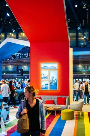 PARIS, FRANCE - OCT 4, 2018: Modern interior designer stand at International car exhibition Mondial Paris Motor Show for the Citroen Car Brand Redakční