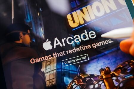 Paris, France - Mar 27, 2019: Apple Arcade icon seen on modern Ipad Pro tablet featuring the new subscription model for over 100 groundbreaking new games