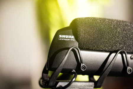 Paris, France - Mar 18, 2019: detail of new microphone made by Shure America MOdel VP 83 mounted on Panasonic GH5 mirrorless camera