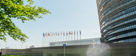 European Parliament headquarter in Strasbourg a day before 2019 European Parliament election - clear blue sky and green trees Stock Photo