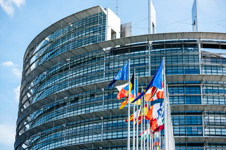 Flags of European Union and member states waving in calm wind in front of the Parliament headquarter on the day of 2019 European Parliament election