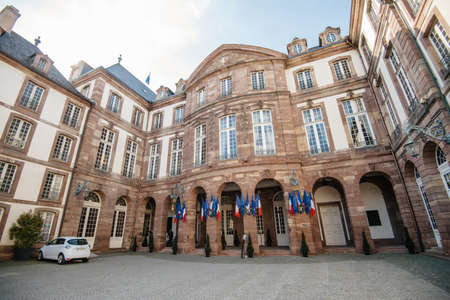 Strasbourg, France - May 26, 2019: Wide view over large entrance to Hotel de Ville city hall of Strasbourg on the 2019 European Parliament election day Editorial