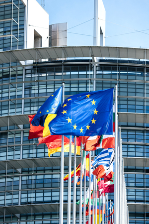 Vertical image flags of all member states of the European Union waving in calm wind in front of the Parliament headquarter on the day of 2019 European Parliament election Stock Photo