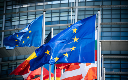 Flags of all member states of the European Union waving in calm wind in front of the Parliament headquarter on the day of 2019 European Parliament election