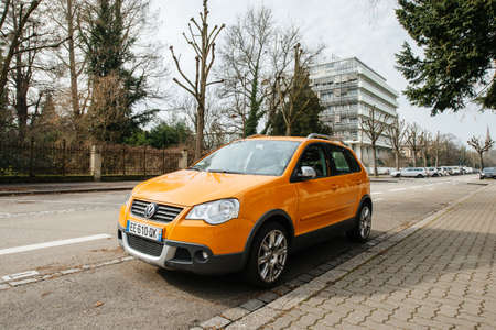 Strasbourg, France- Feb 19, 2017: New beautiful Volkswagen Cross Polo car parked on French street Editorial