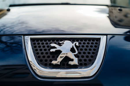 Strasbourg, France- Feb 23, 2017: Front view of Lion icon of Peugeot French car manufacturer brand Editorial