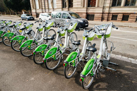 Strasbourg, France- Feb 19, 2017: Rows of multiple parked VelHop bicycle rental service set up by the Eurometropole of Strasbourg - Editorial