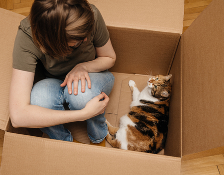 View from above of woman staying inside a big computer cardboard box right after unboxing with her beautiful cat pet
