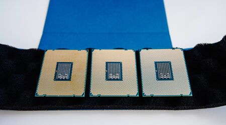 Detail close-up view of three new powerful new professional CPU processor