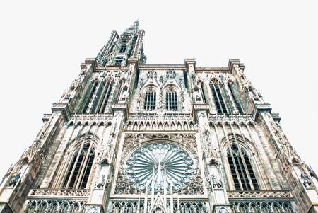 Abstract low angle view desaturated Strasbourg Cathedral Our Lady of Strasbourg French: Cathedrale Notre-Dame