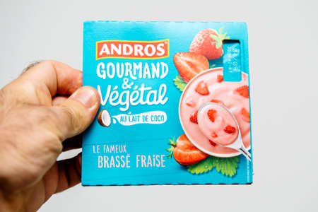 Strasbourg, France - Aug 11, 2018: Man hand holding Andros Gourmand and Vegetal Coconut yogurt with strawberries