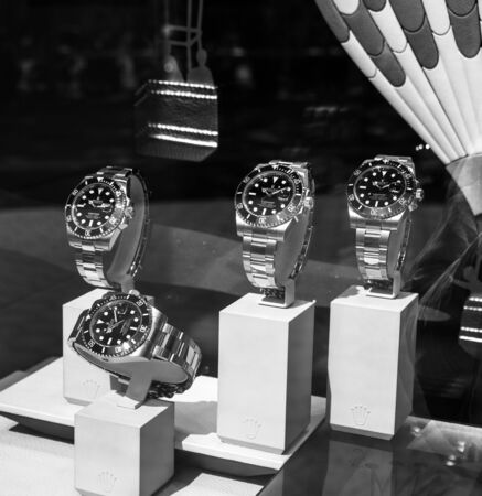 Barcelona, Spain - June 1, 2018: Modern new last collection of luxury wrist Swiss watch manufactured by Rolex model in the official store distributor store showcase square image