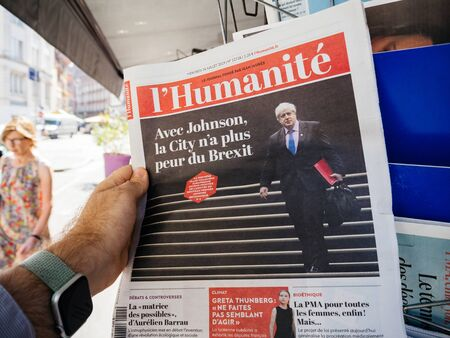 Paris, France - Jul 24, 2019: Boris Johnson appears on front page of the French lHumanite newspaper after been elected new Conservative leader becoming Prime Minister of the United Kingdom