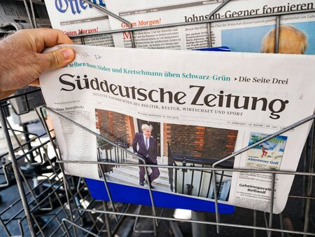 Paris, France - Jul 24, 2019: POV newspaper stand Boris Johnson appears on front page of the German Sueddeutsche Zeitung after been elected new Conservative leader becoming Prime Minister of the United Kingdom
