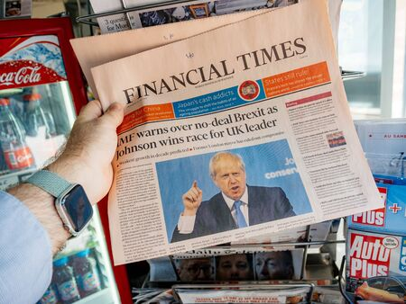 Paris, France - Jul 24, 2019: Boris Johnson appears on front page of the UK Financial Times newspaper after been elected new Conservative leader becoming Prime Minister of the United Kingdom