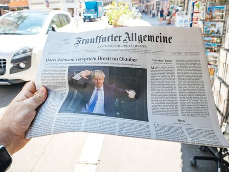 Paris, France - Jul 24, 2019: Boris Johnson appears on front page of German newspaper after been elected new Conservative leader becoming Prime Minister of the United Kingdom - city background 報道画像