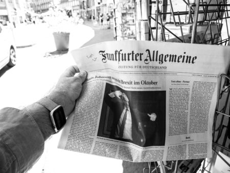Paris, France - Jul 24, 2019: Boris Johnson appears on front page of the German Frankfurter Allgemeine newspaper after been elected new Conservative leader becoming Prime Minister of the United Kingdo 報道画像