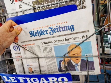 Paris, France - Jul 24, 2019: Boris Johnson appears on front page of the German Kehler Zeitung newspaper after been elected new Conservative leader becoming Prime Minister of the United Kingdom Editorial