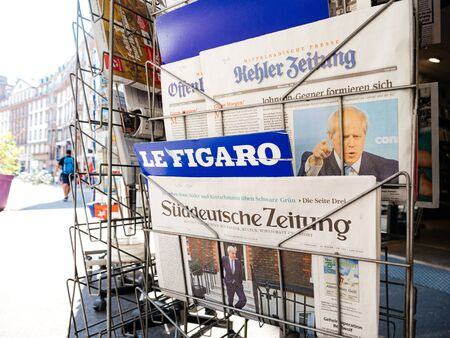 Paris, France - Jul 24, 2019: Boris Johnson appears on front page of the German Sueddeutsche Zeitung newspaper after been elected new Conservative leader becoming Prime Minister of the United Kingdom 報道画像