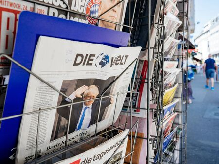 Paris, France - Jul 24, 2019: Boris Johnson appears on front page of the German Die Welt newspaper after been elected new Conservative leader new Prime Minister of the United Kingdom - city background