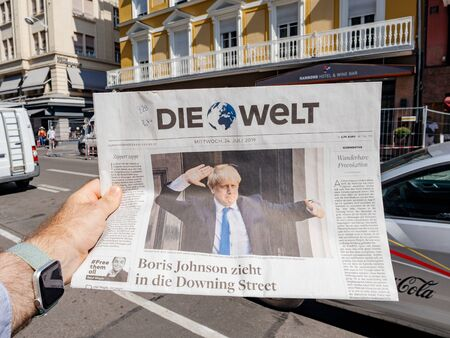 Paris, France - Jul 24, 2019: Boris Johnson appears on front page of the German Die Welt newspaper after been elected new Conservative leader becoming Prime Minister of the United Kingdom