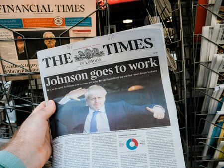 Paris, France - Jul 24, 2019: Boris Johnson appears on cover page of the British The Times newspaper as he becomes UK United Kingdom Prime Minister Editorial