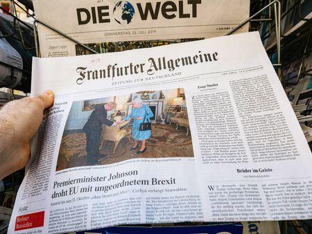 Paris, France - Jul 24, 2019: Boris Johnson appears on cover page of the German Frankfurter Allgemeine newspaper as he becomes UK United Kingdom Prime Minister meeting Queen Elizabeth