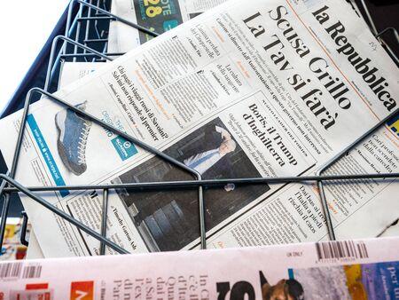Paris, France - Jul 24, 2019: Boris Johnson appears on cover page of the Italian la Repubblica newspaper as he becomes UK United Kingdom Prime Minister tile - Trump of Europe Redakční