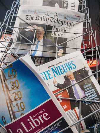 Paris, France - Jul 24, 2019: Vertical image of Boris Johnson appears on cover pages of international newspaper as he becomes UK United Kingdom Prime Minister Redakční