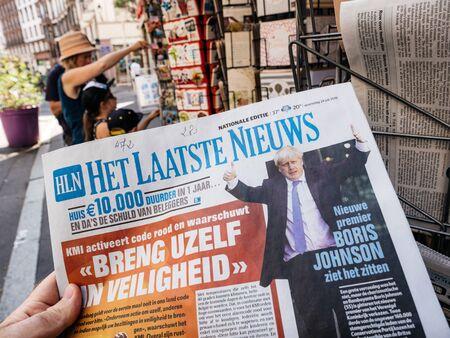 Paris, France - Jul 24, 2019: Boris Johnson appears on cover page of the Het Laatste Nieuws dutch newspaper as he becomes UK United Kingdom Prime Minister