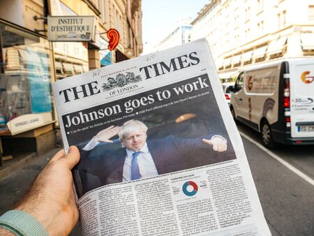 Paris, France - Jul 24, 2019: Boris Johnson appears on cover page of the British The Times newspaper as he becomes UK United Kingdom Prime Minister 新聞圖片