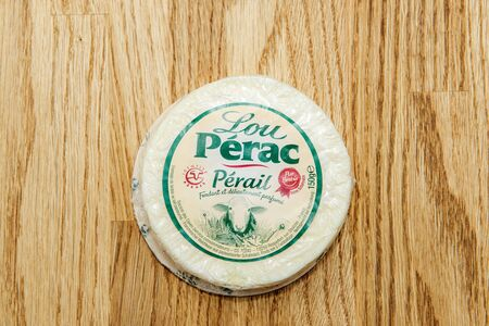 Paris, France - Feb 4, 2017: View from above at the fresh and tasty Lou Perac Perail cheese Redakční