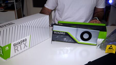 Paris, France - Mar 11, 2019: new Nvidia Quadro RTX 5000 for workstations running professional CAD, CGI, DCC application software video card GPU