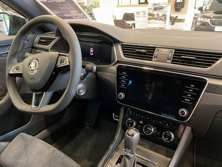 Paris, France - Oct 25, 2019: Interior of the latest Skoda Superb limousine with DSG automatic transmission