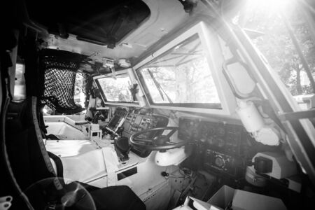 Strasbourg, France - Sep 21, 2019: Monochrome image of Empty drivers seat of French Army Petit vehicule protege Armoured Infantry Fighting Vehicle Manufactured by Panhard Editorial