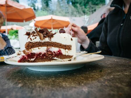 Side view of giant traditional German Black Forest cake with woman silhouette with fork in background
