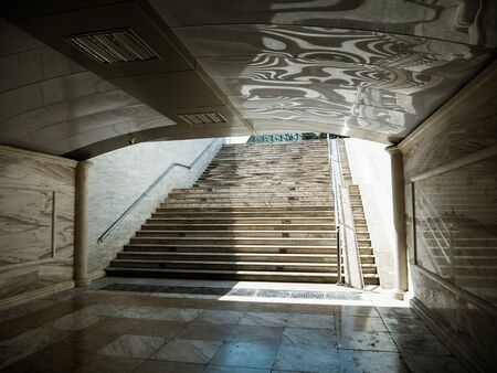 Marble underground in central Baku, Azerbaijan no people