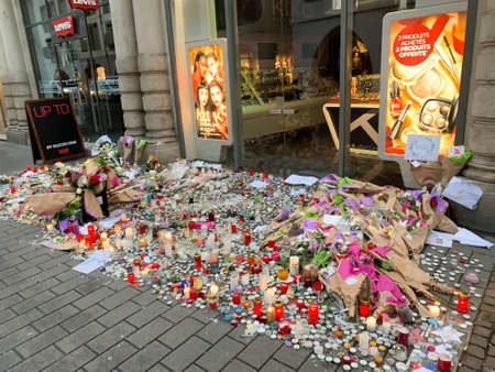 Strasbourg, France - Dec 12, 2018: Overhead view of tribute place on Rue des Grande Arcades in central Strasbourg after terrorist attack during annual Christmas Market Redakční