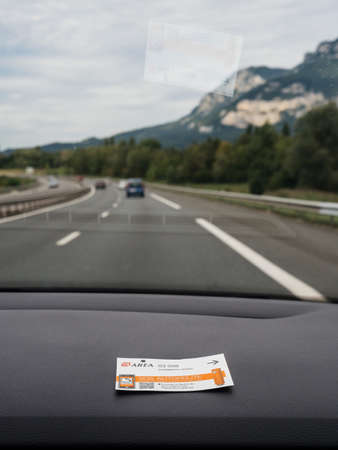 One paper ticket of Toll Road operated by Area in Chambery Nord Éditoriale