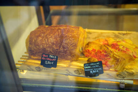 ains aux chocolat and maxi croix de saude on sale in Annecy Bakery