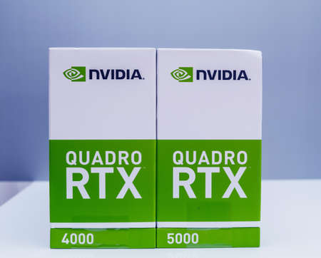 Side view of the packaging of two new GPU Nvidia Quadro RTX 4000 and RTX 5000 based on the Turing microarchitecture, and features real-time ray tracing