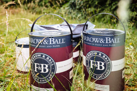 wo Farrow and Ball luxury British paint in green garden Banque d'images - 167821642