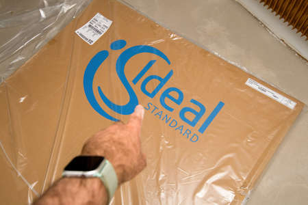 box protected by plastic foil with logotype of Ideal Standard stone resin shower tray