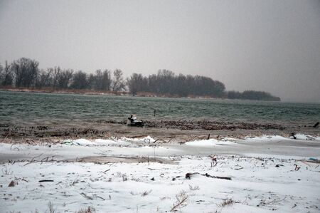 delta: Danube Delta river under snow