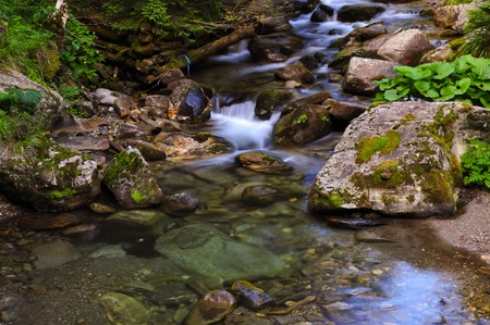 slow motion: Slow motion water in the mountains
