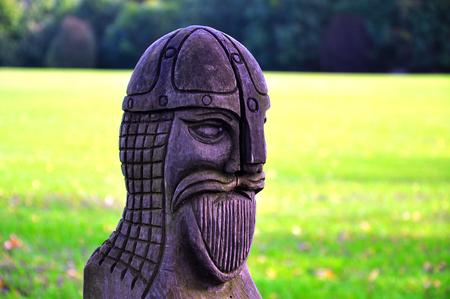 vyborg: Wood statue representing a viking
