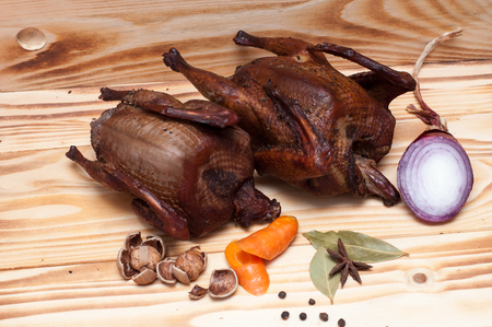 Smoked pigeon prepared in restaurant for wine tasting