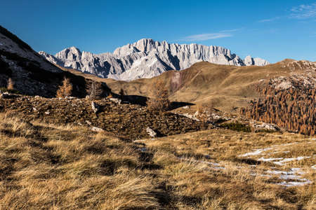 panoramic view of the dolomite mountains on the background of Marmolada